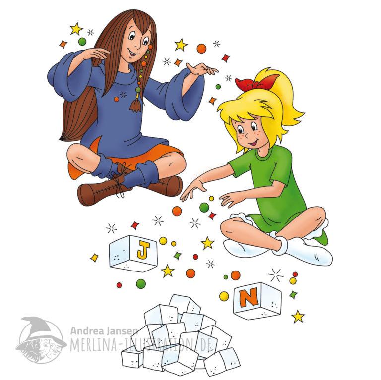 Bibi Blocksberg und Xenia sitzen im Schneidersitz in der Luft über einem Haufen aus Zuckerwürfeln.