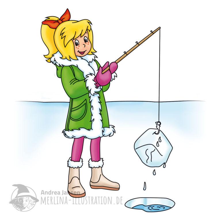 Bibi Blocksberg steht im Wintermantel auf dem Eis und hält mit der Angel einen Eiswürfel über einem Loch im Eis.