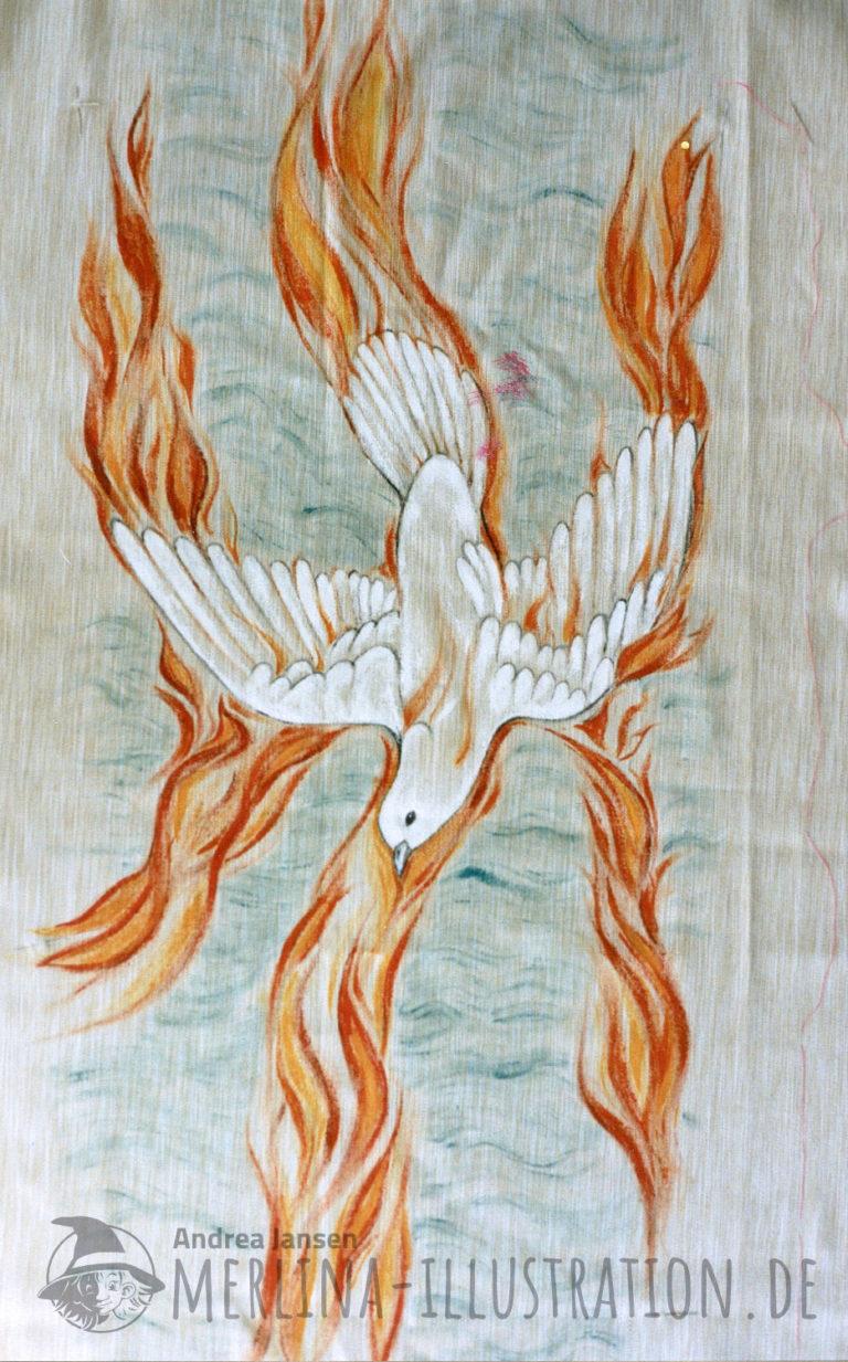 Eine flammende weiße Taube fährt herab; stellt den Heiligen Geist dar.