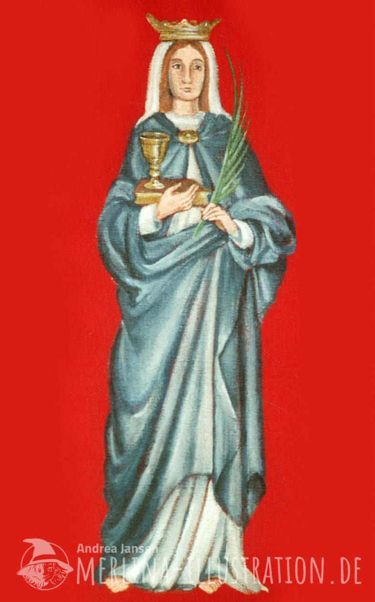 Schutzpatronin hl Lucia auf roten Stoff gemalt