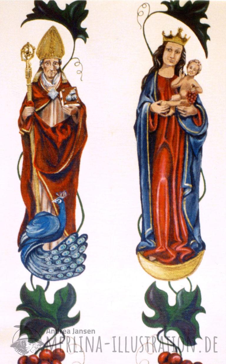 Stola Madonna und Schutzheiliger Liborius mit Pfau
