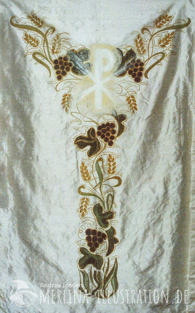Stoffmalerei auf Wildseide für ein Priester Kasel - Ähren und Trauben