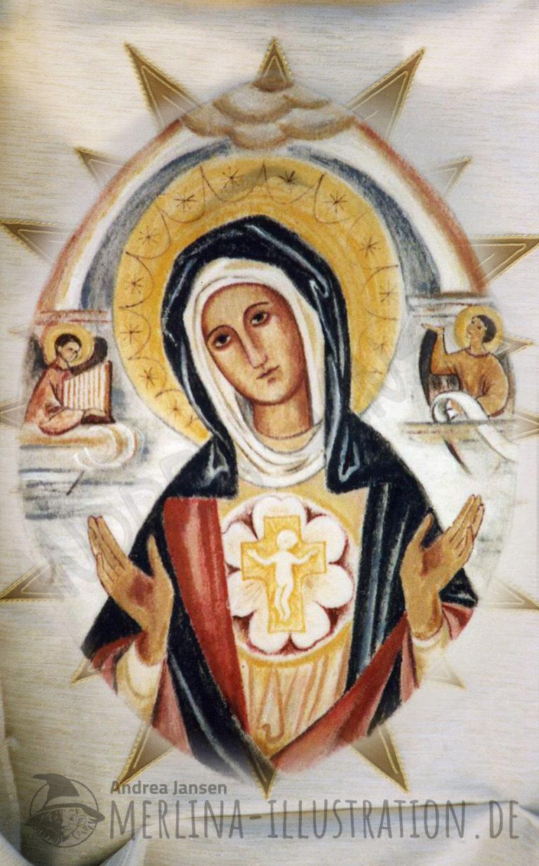 Stoffmalerei Herz Jesu Madonna im Oval