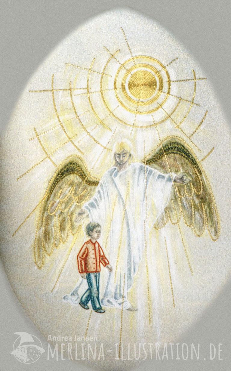 Schutzengel geht neben einem Kind die Arme schützend ausgebreitet, darüber strahlt die Sonne.