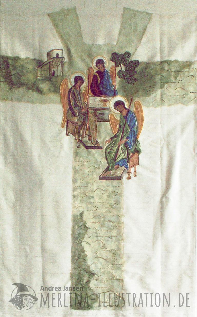 Stoffamalerei auf Seide - drei Engel - im Ikonen Stil