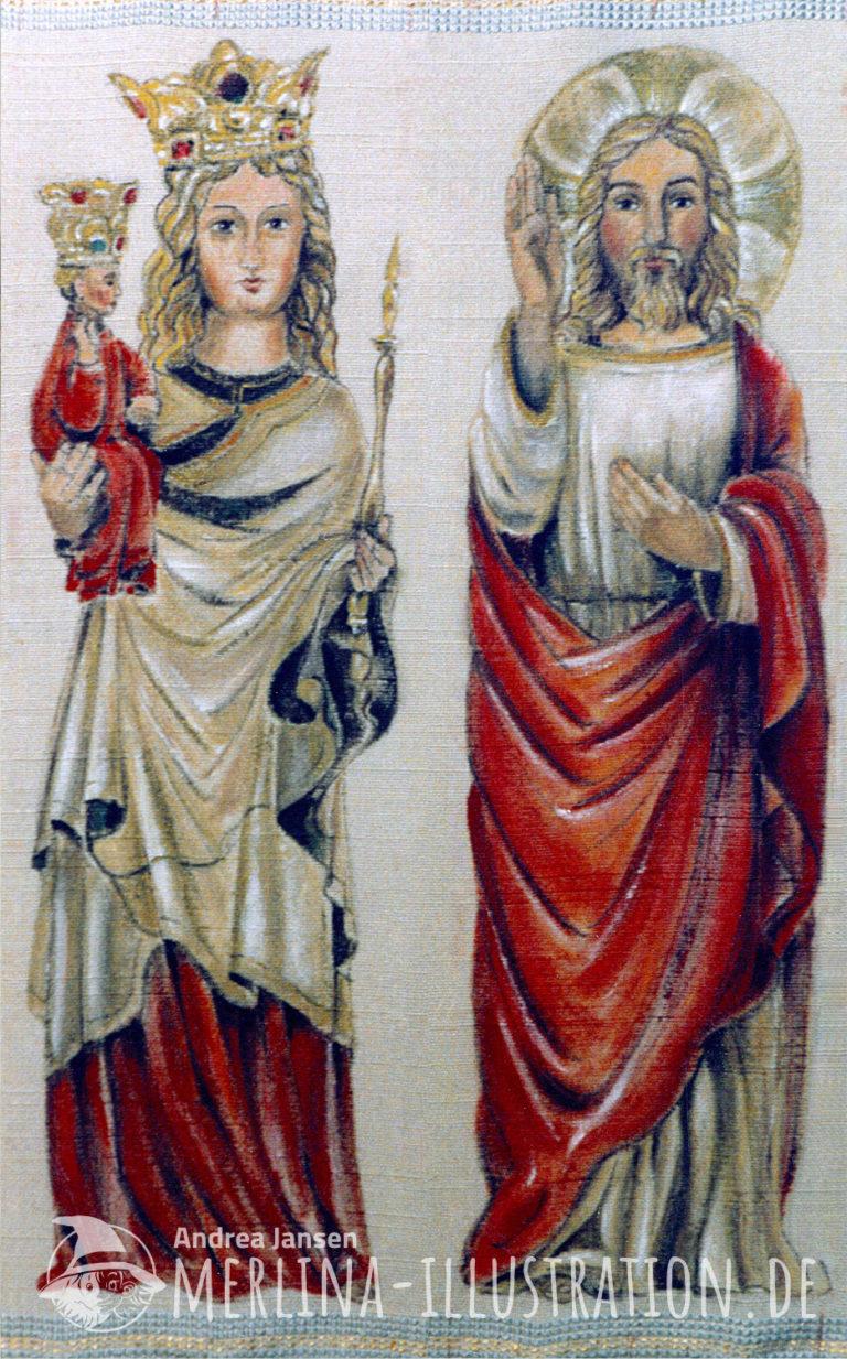 Stoffamlerei Madonna mit Kind und Jesus