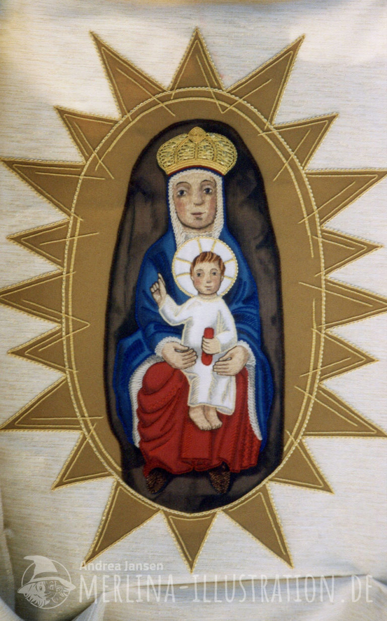 Stoffamlerei - sitzende Madonna mit Kind