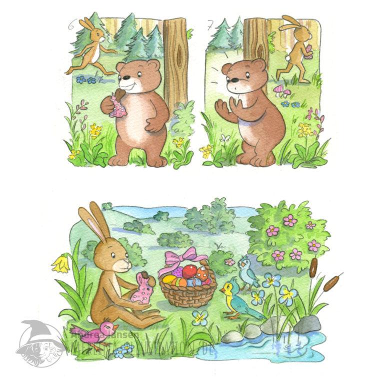 Seite aus einer Prinzessin Lillifee Bildergeschichte - Bruno im Wald, Henry mit Osterkorb am Seeufer..