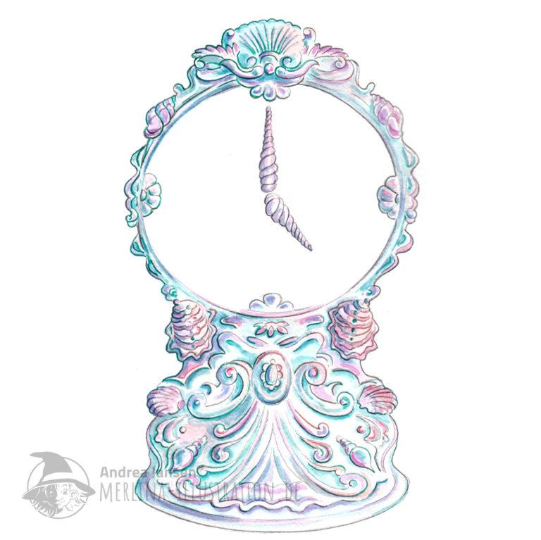 Aquarell Illustration einer Uhr aus Muscheln.