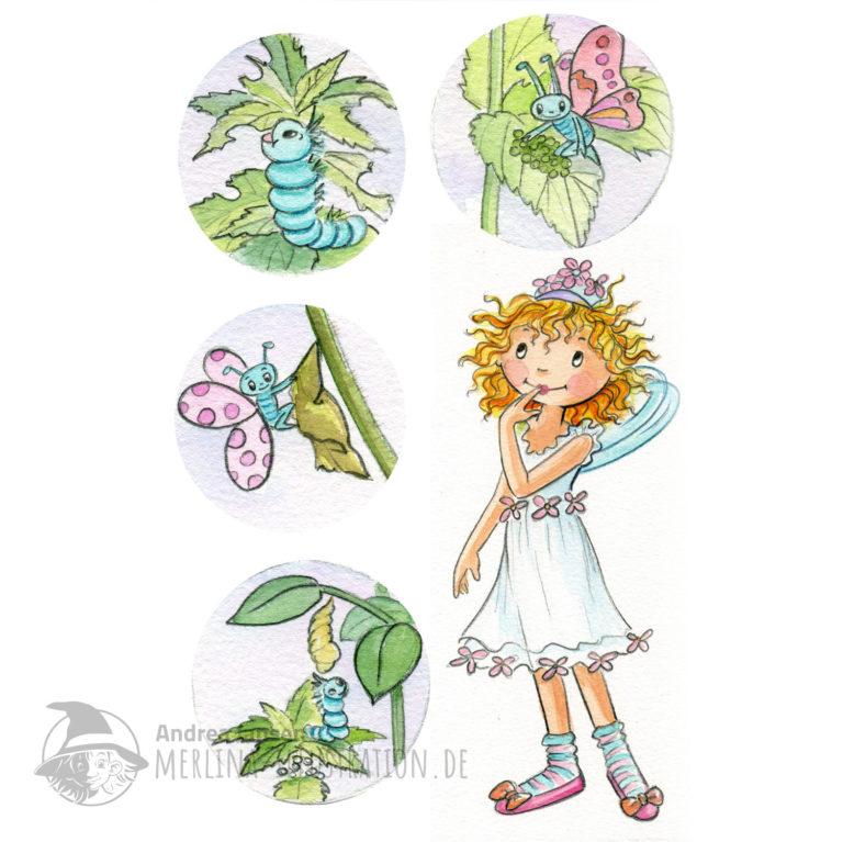 Prinzessin Lillifee im weißen Sommerkleid und vier Illustrationen einer Schmetterlings-Raupe.