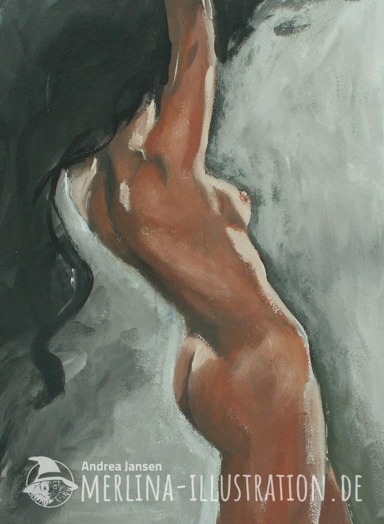 Rückenansicht eines weiblichen Aktes mit langem schwarem Haar, der sich im Gegenlicht mit erhobenen Armen nach hinten streckt.