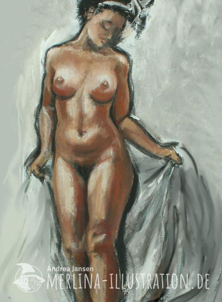 Ein weiblicher Akt steht auf weißgrauem Hintergrund, den Kopf neigend und mit beiden Händen ein weißgraues Tuch hinter sich haltend.