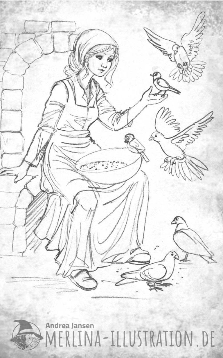Skizze - Aschenputtel sitzt mit der Schüssel am Kamin und füttert die Vögel