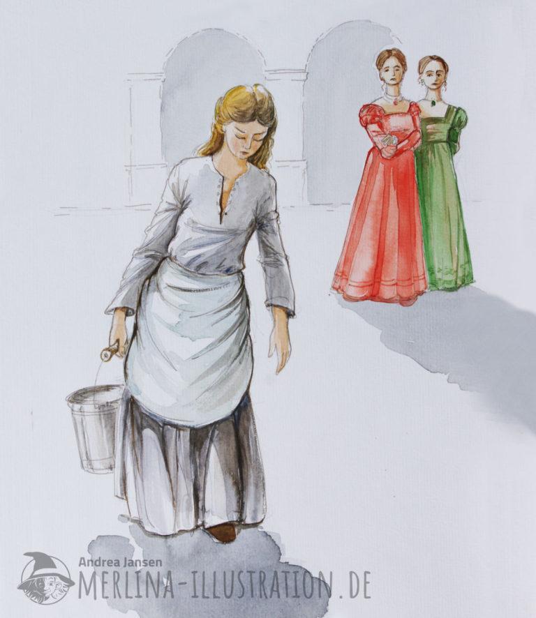 Eine Magd steht im Vordergrund mit einem schweren Eimer und einer weißen Schürze; im Hintergrund die zwei Stiefschwestern in rot und grün gekleidet.