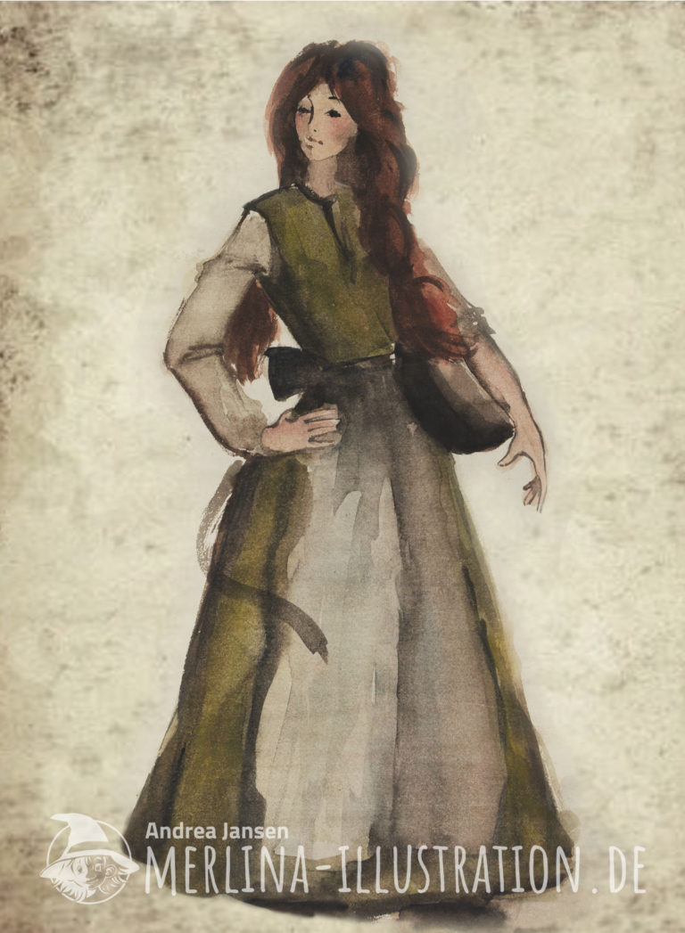 Aquarellskizze einer rothaarigen Magd im grünen Kleid; eine Hand in die Hüfte stemmend, die andere eine Schüssel haltend.