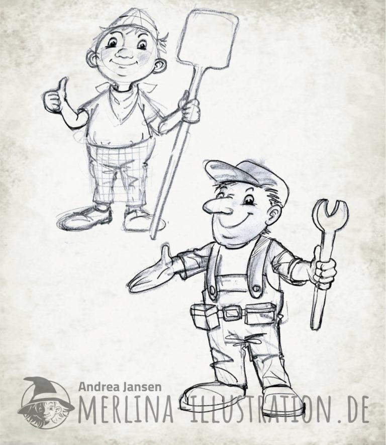lockere Bleistiftskizzen eines Bäckers und eines Handwerkers