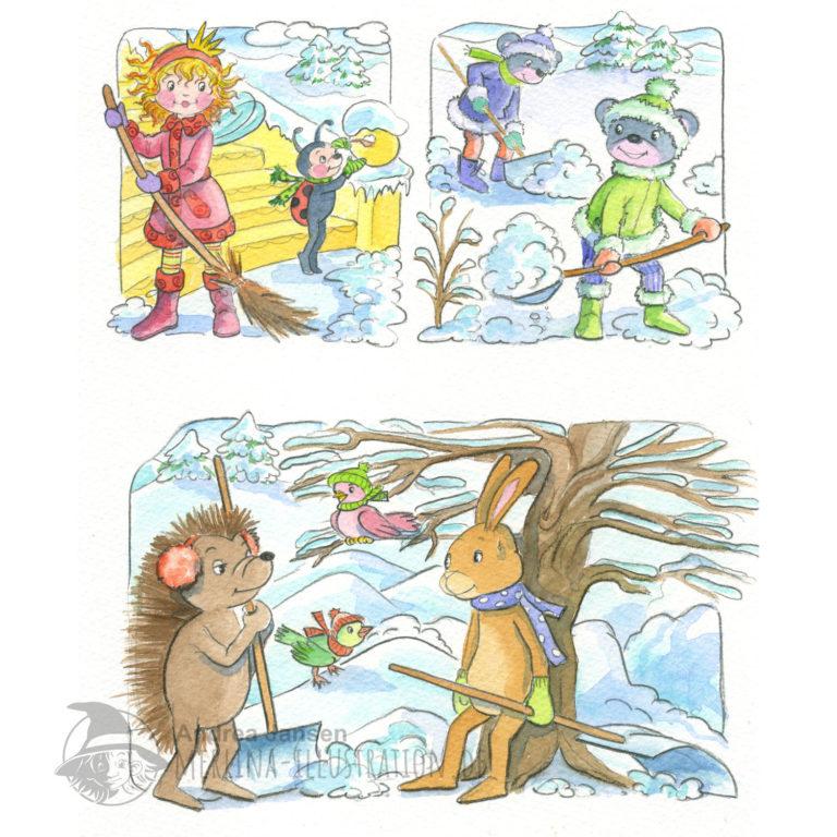 Seite einer Bildergeschichte aus Prinzessin Lillifee. Lillifee und Freunde beim Schneeschaufeln.