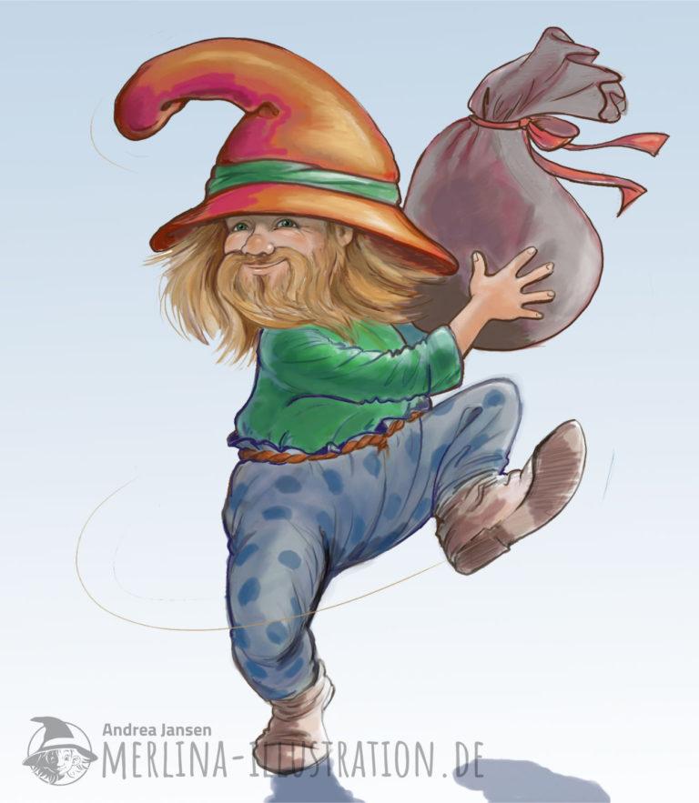 Ein dicker Zwerg mit großem roten Hut und Bart lacht und tanzt und hält einen Sack hinter sich.