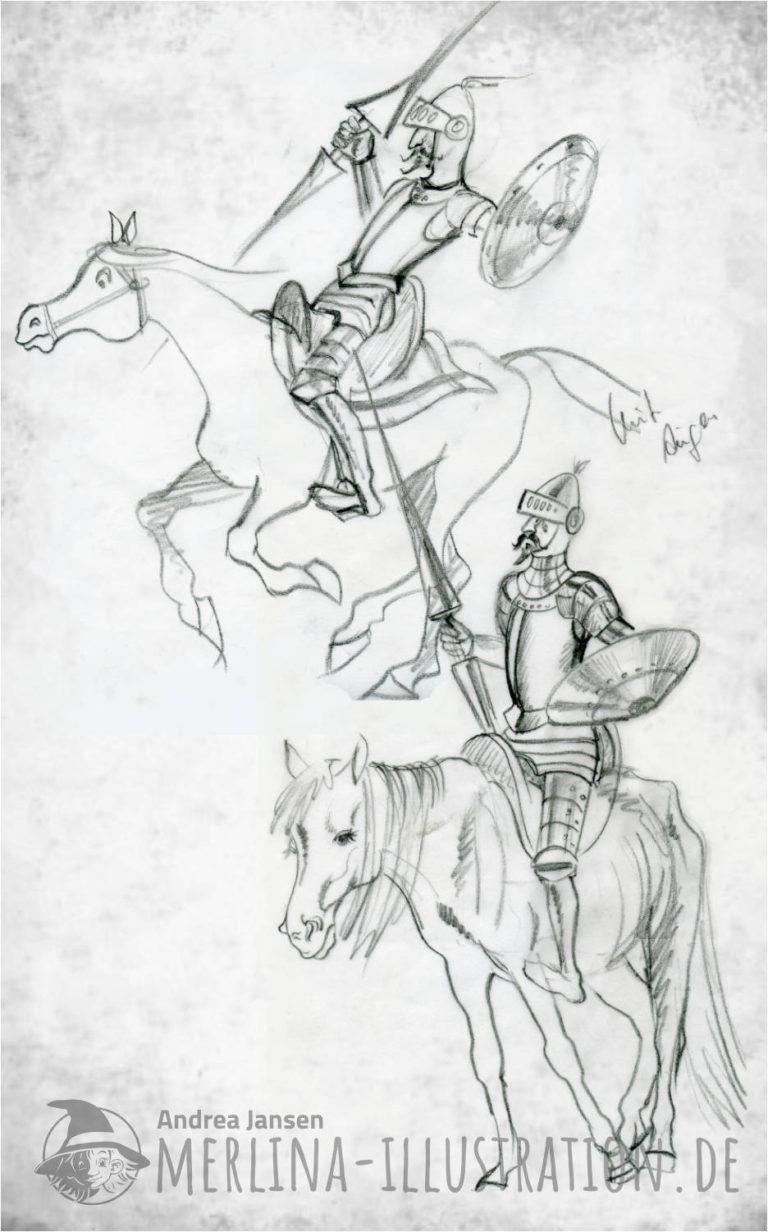 Zwei Bleistift Skizzen - Don Quichote reitet mit Lanze auf dem Pferd