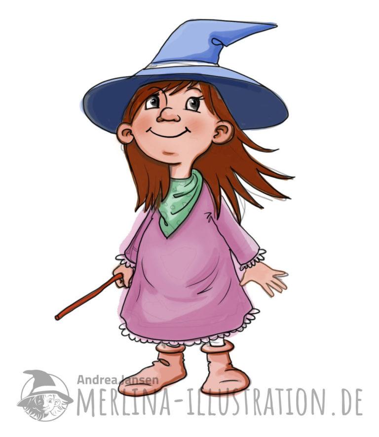 Kleine lustige Hexe steht da in rosafarbenem Kleid, grünem Halstuch und blauem Hexenhut.