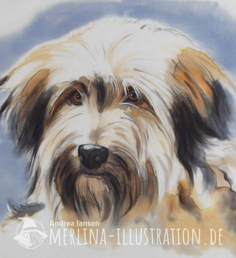 Bobtail-Mix Hundeportät auf Seide
