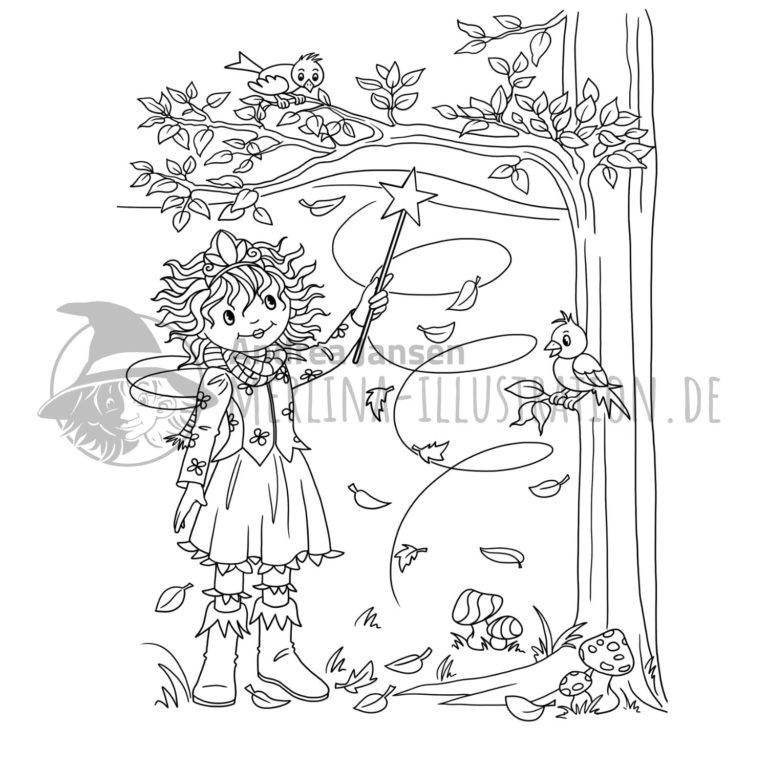Malbild - Prinzessin Lillifee steht unterm herbstlichen Baum unt hebt den Zauberstab. Zwei Vögel sehen zu.