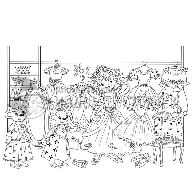 Ausmalbild - Prinzessin Lillifee mit den Mäusen vor dem Kleiderschrank