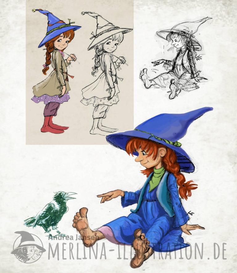 Entwurf freche Kinderbuch Hexen - Blaue lustige Hexe sitzt mit ausgestreckten Beinen und spricht mit einem Raben. im
