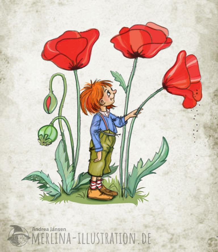 Rothaariger Kobolt steht unter drei großen, rot blühenden Mohnblumen und sieht nach oben. Mit einer Hand neigt er eine Blume, aus deren Blüte etwas rieselt.