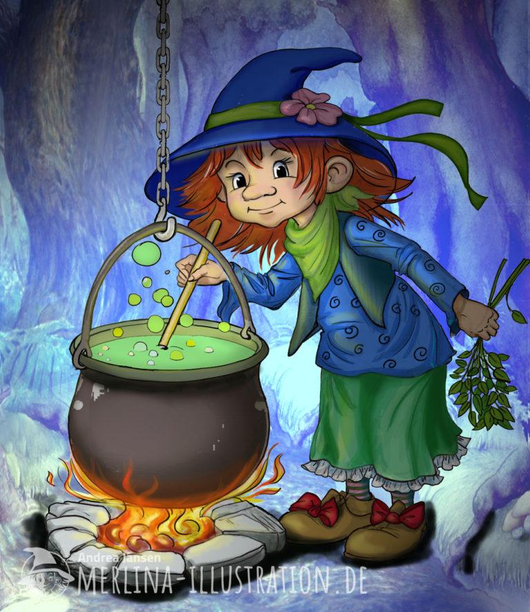 Kleine lustige Hexe steht im Wald in blauem Licht vor ihrem Hexenkessel mit grünem, blubberndem Inhalt.