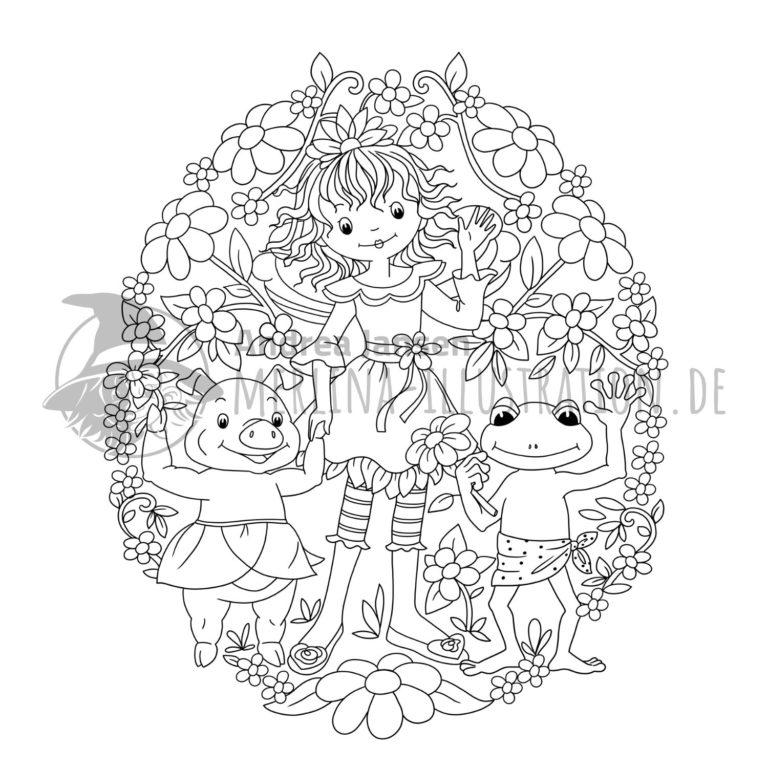 Prinzessin Lillifee steht mit Frosch und Schwein im einem Blumenei.