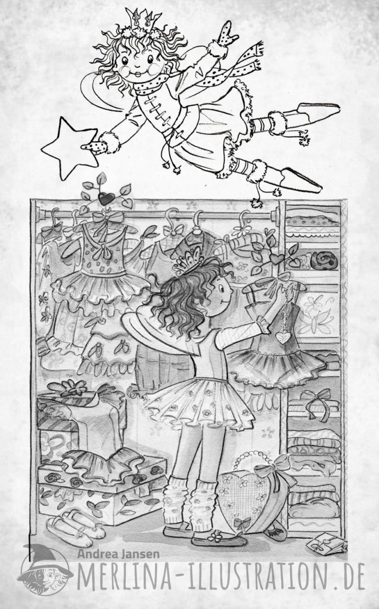 Prinzessin Lillifee vor dem Kleiderschrank in schwarz/weiß