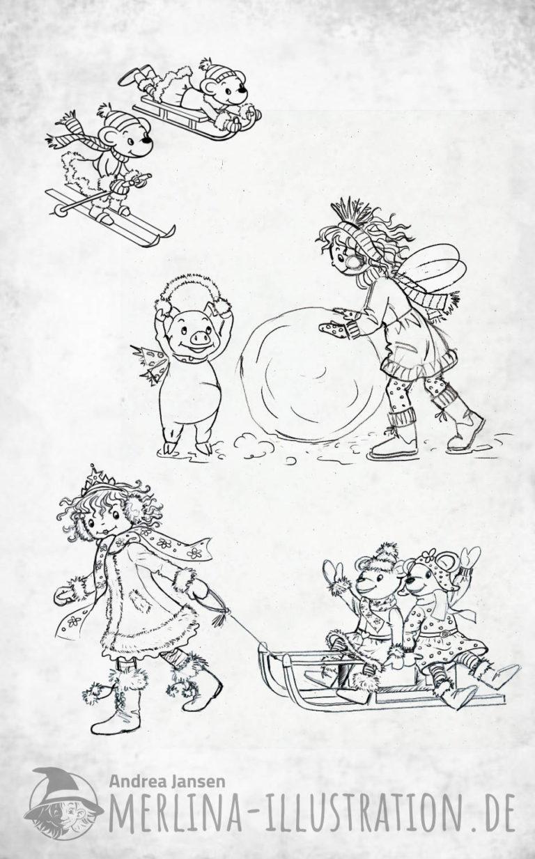 Prinzessin Lillifee zieht die Mäuse auf dem Schlitten - rollt einen großen Schneeball - Mäuse fahren Schlitten und Ski