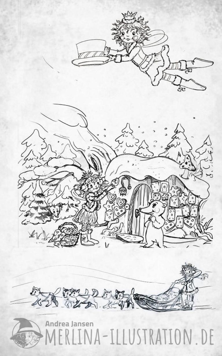 Skizzen Lillifee im Winterwald vor einem Lebkuchenhäuschen - Hundeschlitten - Lillifee fliegt im Winter Outfit