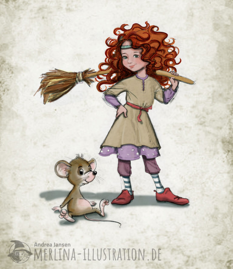 Kindliche Hexe mit großen, roten Locken hält ihren Besen über der Schulter; neben ihr sitzt eine braune Maus.