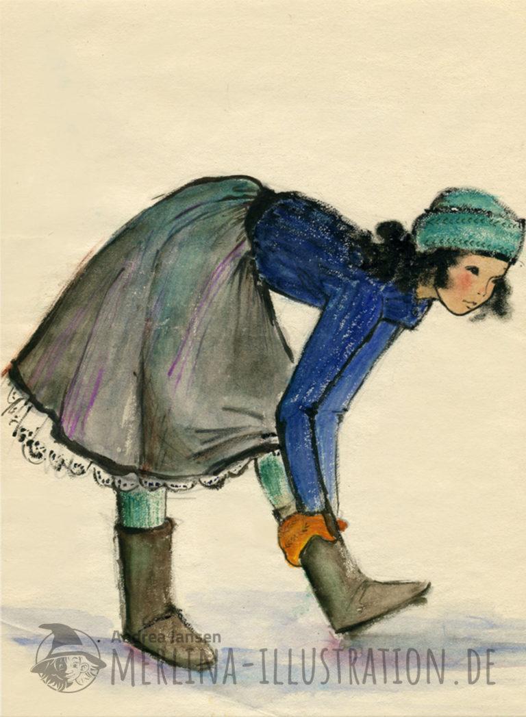 Aqarellzeichnung - Mädchenauf im Rock auf dem Eis umfasst mit orangen Handschuhen ihre Stiefel.