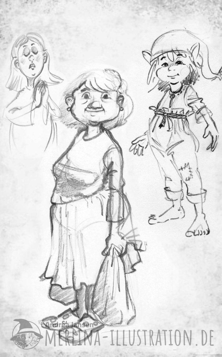 Bleistift-Skizze verschiedener Kinderbuch Charakter