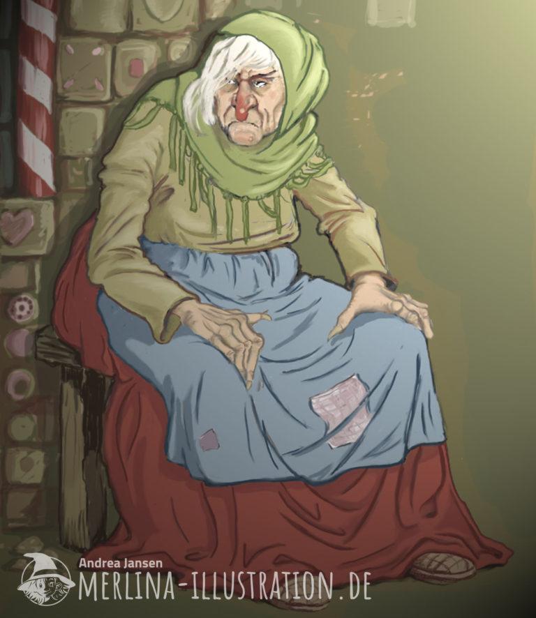 Böse Hexe sitzt vor ihrem Lebkuchenhaus.