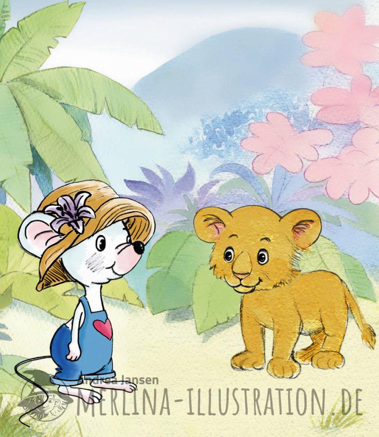 Weiße Maus mit blauer Latzhose und Strohhut steht bei einem Löwenbaby; im Hintergrund zart angelegter Urwald.