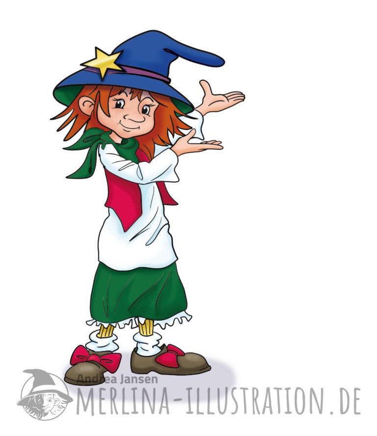 Eine kleine Hexe mit großen Schuhen und blauem Hexenhut macht eine einladende, hinweisende Bewegung.