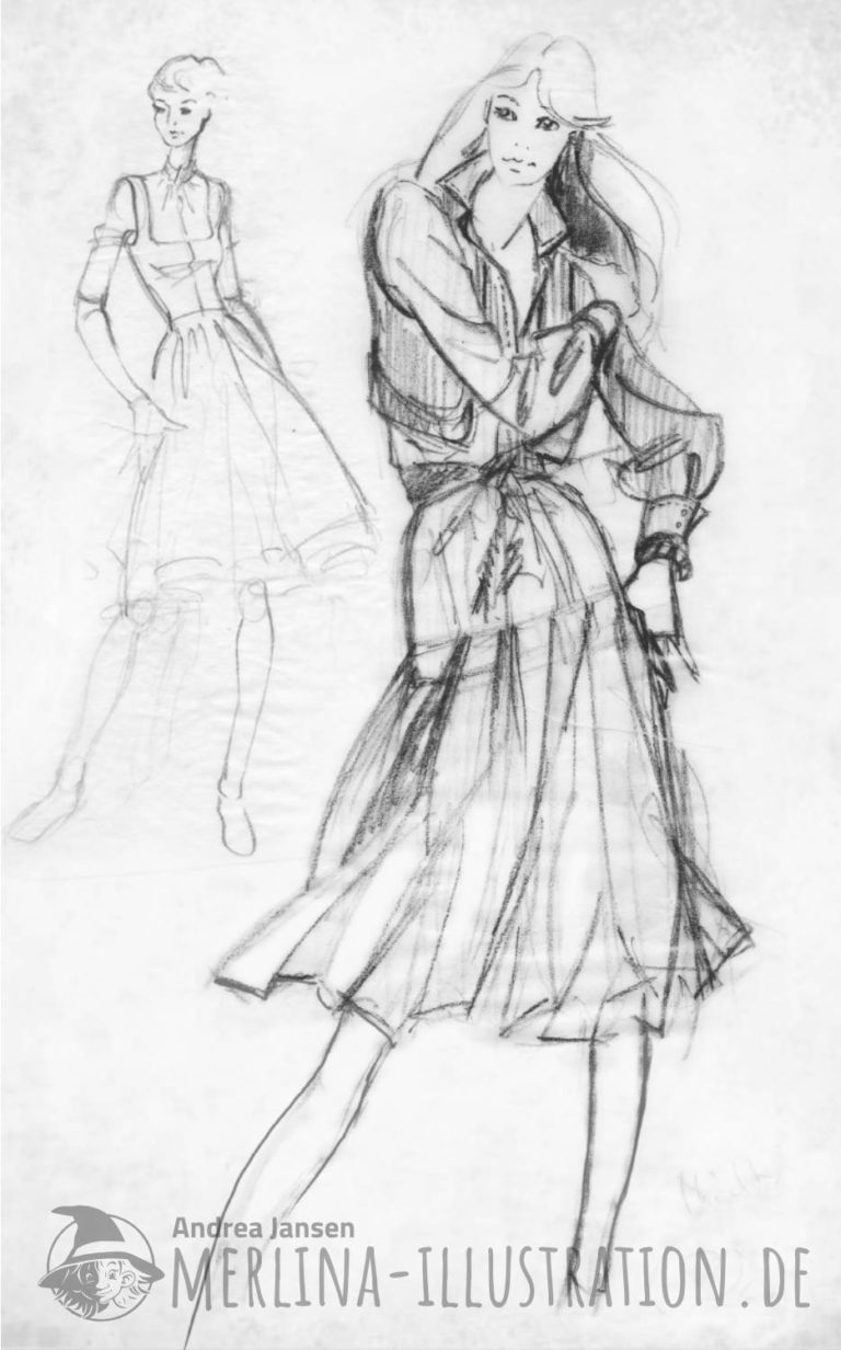 Modeskizzen lässig im Kleid