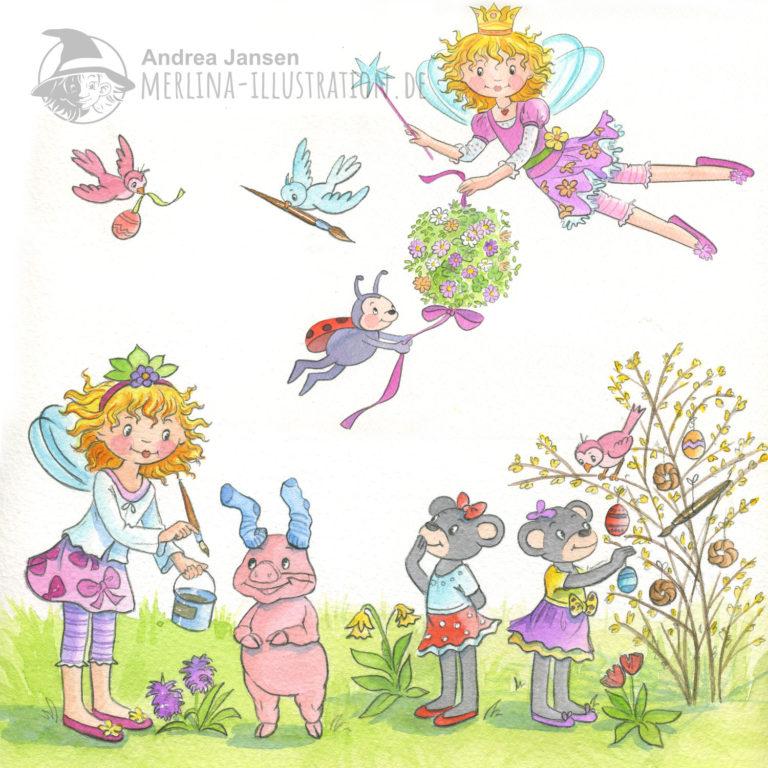Prinzessin Lillifee und ihre Freunde auf einer österlichen Wiese. Vögel, Oskar und Lillifee fliegen in der Luft.
