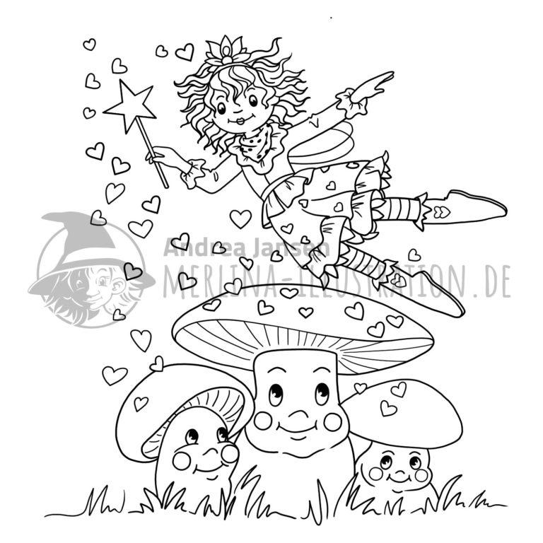 Prinzessin Lillifee fliegt und streut Herzchen auf drei Pilze mit Gesichtern.