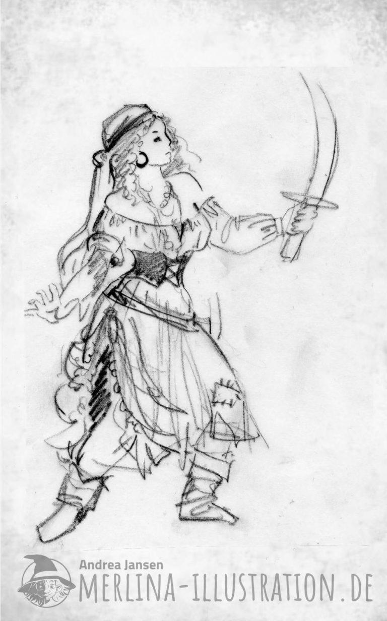 Bleistift-Skizze Mädchen im Piraten Kostüm mit Säbel