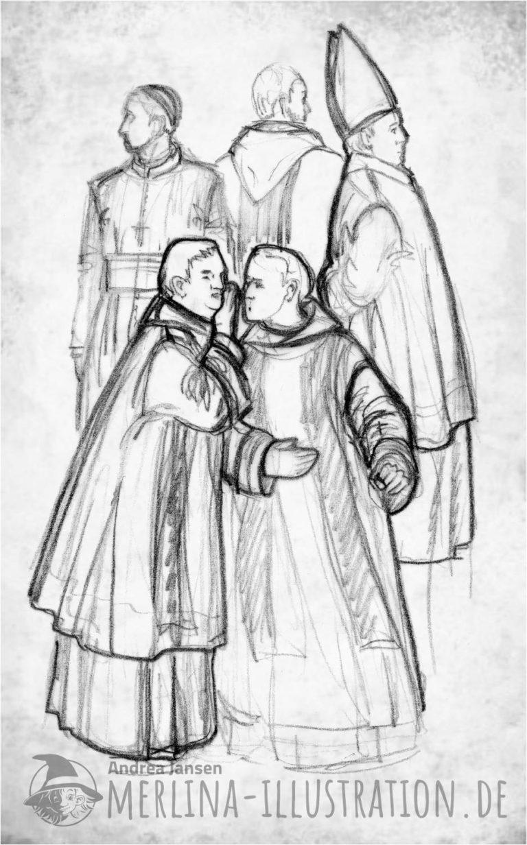 Bleistiftskizze Fünf Männer der Kirche - Ein Priester flüstert einem anderen etwas zu.