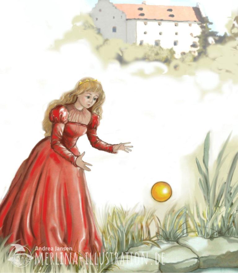 Froschprinzessin im roten Kleid steht unterhalb des Schlosses am Brunnenrand und verliert ihre goldene Kugel.