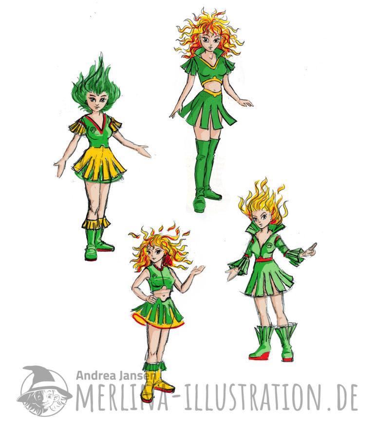 Vier gelb-grün-fot-farbige Entwürfe für Markenbotschafterinnen. Mädels mit kurzen Kostümen und flammendem Haar.oten Kostümen mit Kurzen