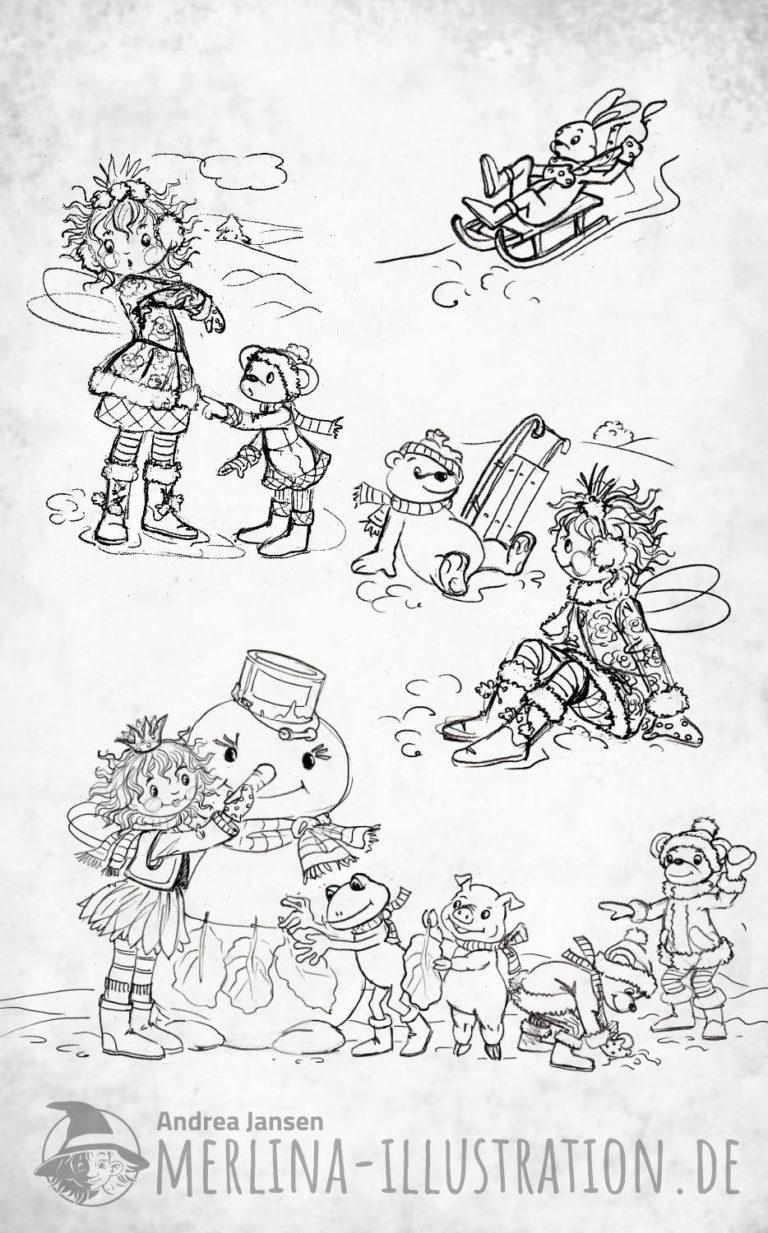 Skizzen Prinzessin Lillifee beim Schneemann bauen
