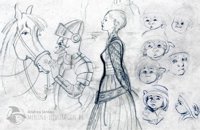 Diese Seite zeigt Beispiele aus dem Skizzenbuch von Andrea Jansen