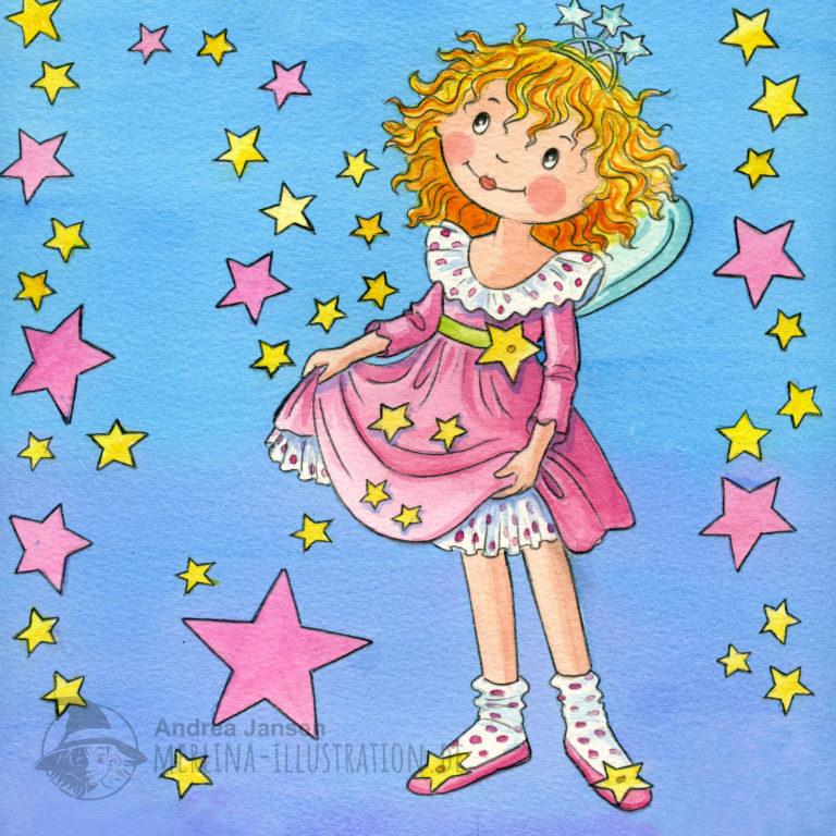 Prinzessin Lillifee umgeben von Sternen fängt mit ihrem Kleid die Sterne auf.